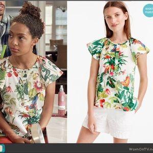 J.crew tropical print cotton top